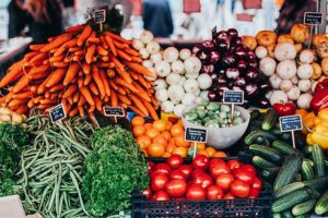 Colourful fruit and veg on market stall