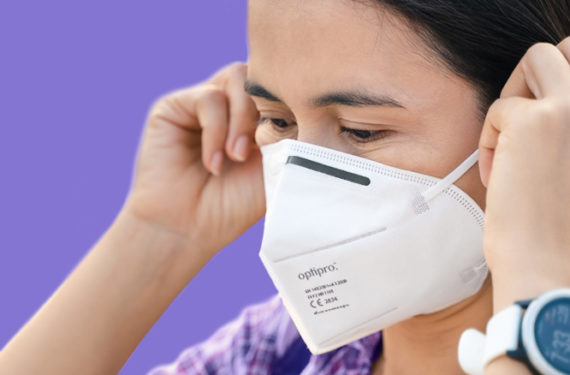 Woman wearing FFP2 face mask